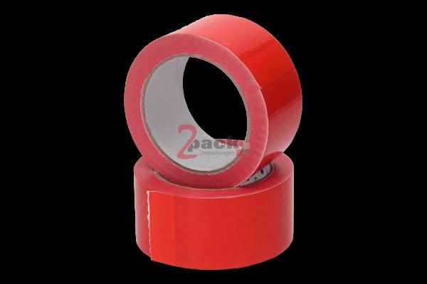 PVC Klebeband (36 Rollen), rot, widerstanadsfähig und leise abrollbar, Naturkautschukkleber